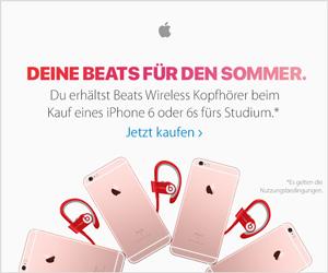 Deine Beats für den Sommer. Du erhältst Beats Wireless Kopfhörer beim Kauf eines iPhone 6 oder 6s fürs Studium.