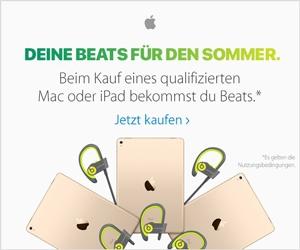 Deine Beats für den Sommer. Beim Kauf eines qualifizierten Mac oder iPad bekommst du Beats.